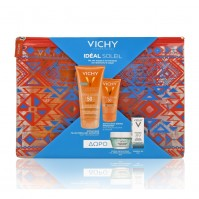 Vichy Πακέτο Ideal Soleil Sun Screen Tinted Dry Touch Fluid (SPF50) 50ml & Ideal Soleil Body Milk-Gel (SPF50) 200ml & Δώρο Mineral 89 5ml, Μάσκα Ενυδάτωσης 15ml