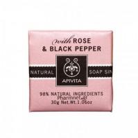 Apivita Σαπούνι Με Τριαντάφυλλο & Μαύρο Πιπέρι Mini 30gr