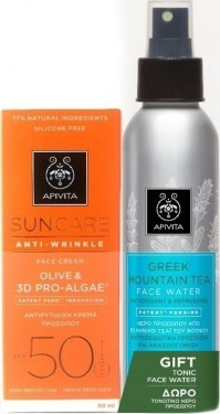 Apivita Promo Αnti-Wrinkle Olive&3D Pro-Algae Spf50 50Ml & Tonic Face Water 100Ml