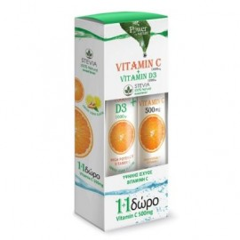 Power Health Vitamin C 1000mg +D3 Stevia & Δώρο Vitamin C 500mg 20 Αναβράζοντα Δισκία